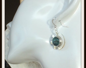 OOAK Designer artisan earrings sterling silver natural Turquoise cabochon  handmade for  woman