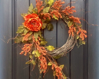 Fall Wreath Thanksgiving Wreath Halloween Orange Berry Twig Grapevine Door Wreath Decor