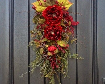 """Summer Wreath, Fall Wreath Gift Wispy Twig Teardrop Vertical Swag Door Decor...Use All Year Round..""""Romantic Red"""" Floral Swag Red Peony"""