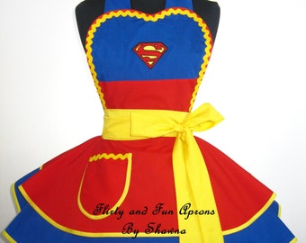 Superman or Superwoman Costume Apron Cosplay Apron