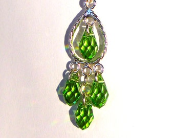 Delicate Peridot Green Swarovski Crystal Necklace (N866)
