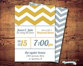 Printable Chevron Rehearsal Dinner invites, Save the Dates, Birthdays (digital file) DIY Printing at home or your choice of printer