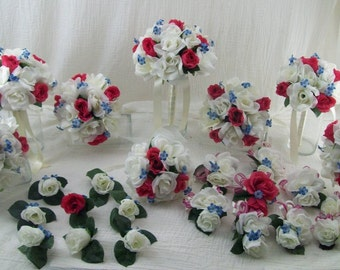 Pink, Blue and Ivory Bridal Bouquets Silk Wedding Package Ivory Boutonnieres Corsages Spring Wedding Flowers 26 Pieces Made To Order