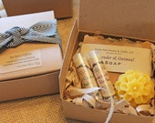 Bee Merry Gift Set - Honeycomb Soap, Lip Balm, Small Candle - Your choice - Teacher Gift, Thank you gift