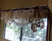 Window valance swag shabby chic vintage doily bunting wedding banner girls room mantel headboard banister home decor