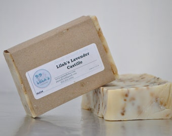 Lilah's Lavender Castille Soap --  Palm Free, AllNatural Soap, Handmade Soap, BarelyScented Soap, ColdProcess Soap, VeganSoap, Lavender Soap