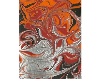 Red, Orange, Black and Metallic Silver Abstract Art ACEO