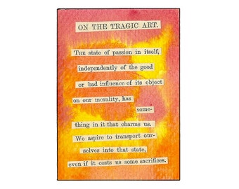 Original Art Piece - Red & Orange Watercolor Mixed Media Vintage/Antique Book Collage ACEO with Philosophical Quote