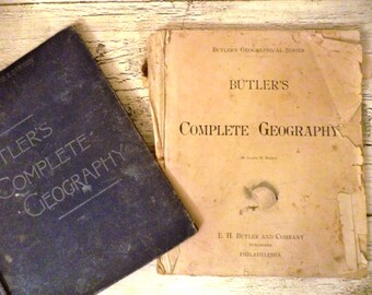 Butler's Complete Geography  - 1887 - Antique Atlas and History Book for Collecting or Crafts - Beautiful Illustrations