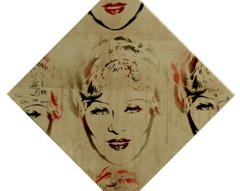 Classic Hollywood Star Mae West 12x12 Vintage Pin Up Diamond Lil Gay Art Queer Art Graffiti and Pop Art Urban Art on Canvas Gay Wedding