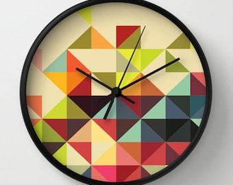 Triangles Wall clock - Multicolor Triangles Retro Wall Clock - Original Design - Home decor by Adidit