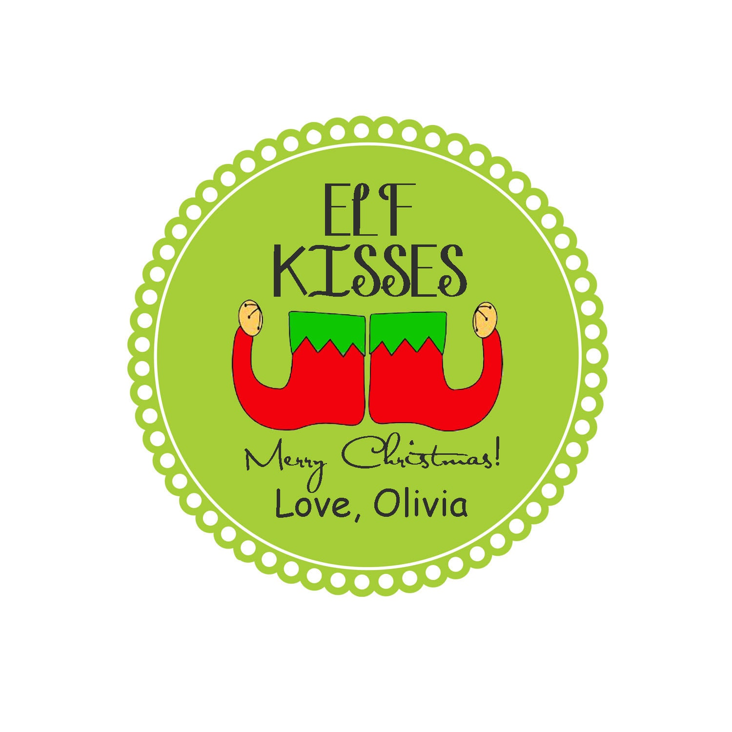 Personalized ELF KISSES Tags Merry Christmas by OliviaKateDesigns