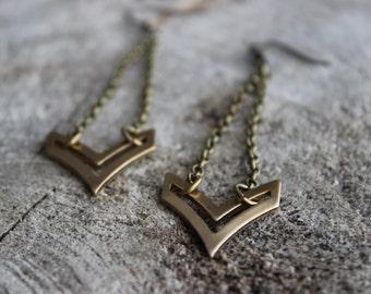 BO-761 Boucles d'oreilles géométriques chevron  // Geometric earrings, chevron earrings