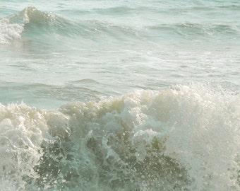 Ocean Waves Photograph Pale Aqua Wall Decor Calming Ocean Print  Beach Coastal Shore Art 8x8
