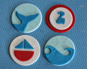 Fondant Sailboat, Wave, Whale Tail and Age Toppers for Birthday Cupcakes, Cookies or Cakes