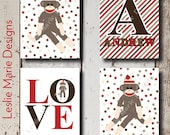 SOCK MONKEY NURSERY - Sock Monkey Wall Art - Polka Dot - Custom Name - Stretched Canvas or Lustre Prints