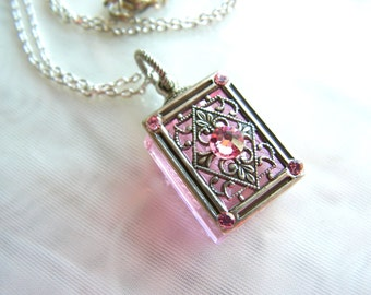 Vintage Inspired Pink And Silver Filigree Crystal Perfume Bottle Necklace