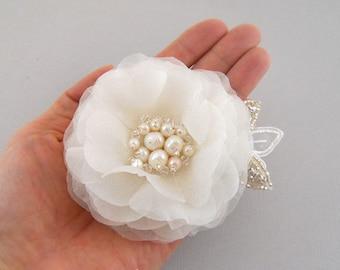 Freshwater Pearl Bridal Hairpiece, Bridal Headpiece, Wedding Hair Piece, Bridal Hair Flower Clip, Bridal Hair Accessory, Swarovski Crystal