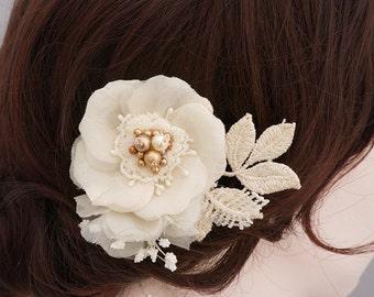 Swarovski Pearl Bridal Head Piece, Gold Bridal Hairpiece, Wedding Hairpiece, Ivory Wedding Hair Piece, Gold Bridal Hair Accessory, Pure Silk