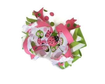 "Ladybug Hair Bow 4.5"" Green, Pink and White Ladybug Print Ribbon Bow, Ribbon Spikes, White Satin Mini Bows with Pink Ladybug Center"