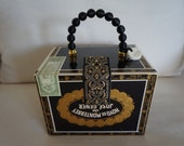 Fancy Black Cigar Box Purse with bead handle and fabric lining