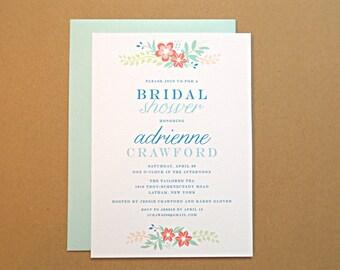 Bridal Shower Invitations / Wedding Shower Invitations, Vintage Wildflowers, 10-Count