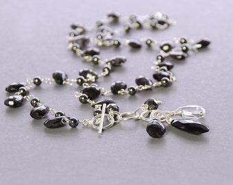 SALE 25% OFF Hematite, Rutile Quartz Necklace by Agusha. Black Gemstone Necklace.