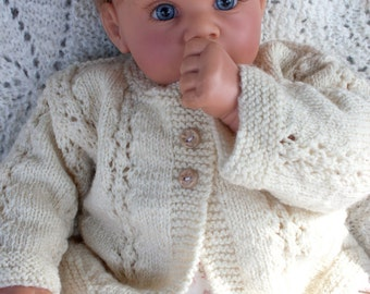 SALE: Hand Knit Baby Sweater Cardigan in Merino Wool with handmade buttons