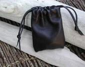 Men's Leather Pouch Bag, Coin Pouch, Sack Bags - Drawstring Pouch Bag, Black Bag