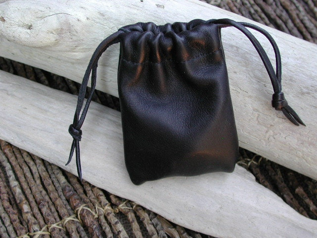 Leather Pouch Bag Coin Pouch Drawstring Pouch Bag Black Bag