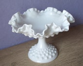 Vintage 1950's Fenton milk glass hobnail compote, Mid Century decor, white glass candy dish, living room decor, birthday gift for her