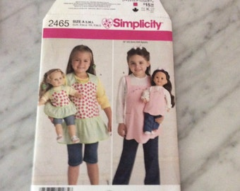 Simplicity Pattern 2465, new, uncut apron patterns for children and dolls