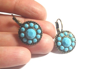 Turquoise  earrings. Swarovski earring. Turquoise earrings