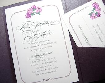 Floral Wedding Invitation Fushia Flowers Custom Pocketfold Invite Summer Wedding Purple Pocketfold Belly Band Wrap Garden Custom Wedding