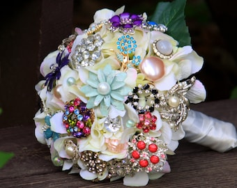 Brooch Bouquet vintage pearls silver pastel wedding bridal bouquet, Deposit only