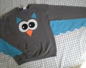 OWL sweatshirt with wings, adult sizes, customize your colors, bird sweater, owl shirt, fun shirt