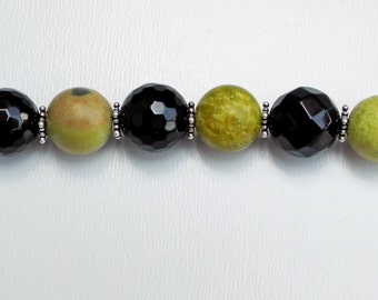 Onyx & Yellow Turquoise Dog Lover's Key Chain