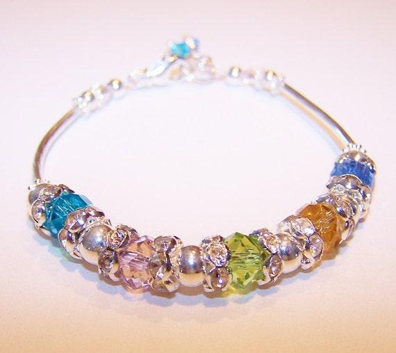 birthstone bracelet mothers bracelet family bracelet patriotic