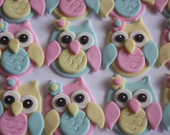12 Fondant cupcake toppers--owls 2.0