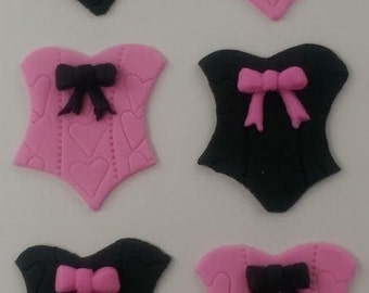 12 fondant cupcake toppers--lingerie shower, bachelorette party