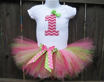 Strawberry Chevron and Polka Dots First Birthday Tutu Set and Matching Headband   Pink and Green Birthday, Photo Prop, Party Dress