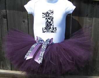 First Birthday Tutu Outfit and Matching Headband | Plum, Black & White Damask Number or Initial | Birthday Photo Prop, Party Dress