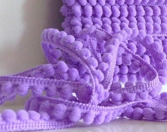 "5 Yards ""Orchid"" BABY PomPom Trim, Ball Fringe"