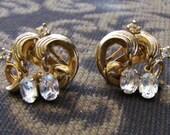 Crown Trifari Rhinestone Earrings - Clipon or Posts