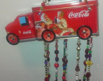 Vintage Recycled Coke Truck Wind Chime with Silverware and Beads