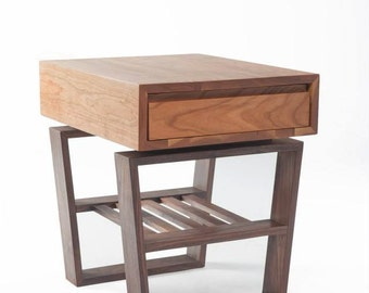 Cherry and Walnut End Table.