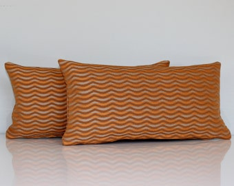 Lumbar Pillow Cover Decorative Accent Oblong Orange Beige Stripe 8X16 Petite Throw Pillow Cover
