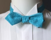 Turquoise Bow Tie -  for men, diamond point, self tie, freestyle, cotton fabric - paler turquoise linen on reverse.