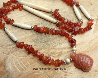 Carnelian Necklace - Gemstone Turtle Necklace - Carnelian And Bone - Native American Inspired - Tribal Style - Totem - Made In USA