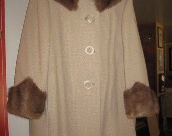 Vintage Boucle Swing Coat with Mink Collar and Cuffs